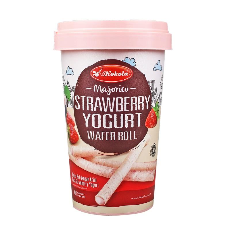 Bánh Quế Dâu Majorico Kokola Strawberry Yogurt Wafer Roll Lon 250g